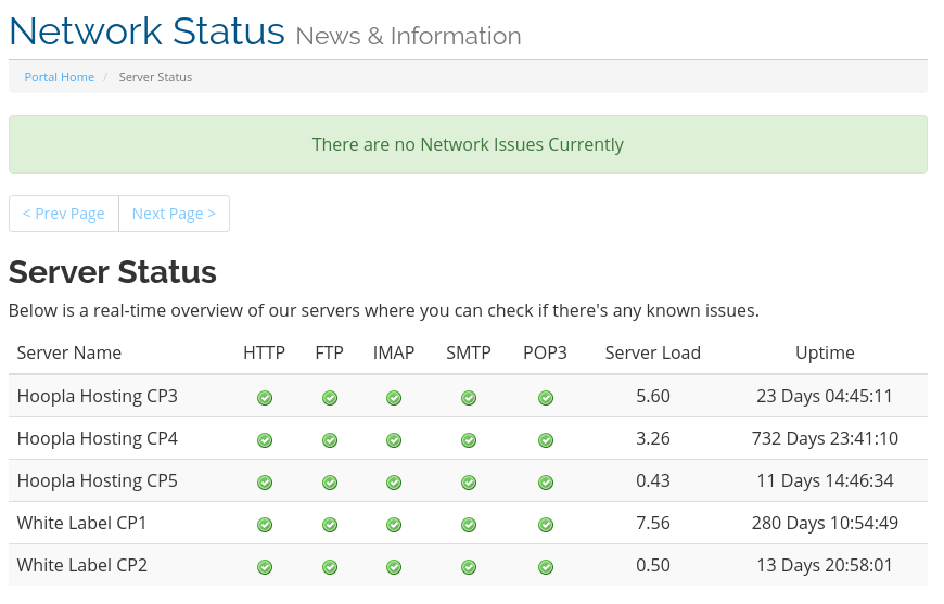Network Status Screenshot